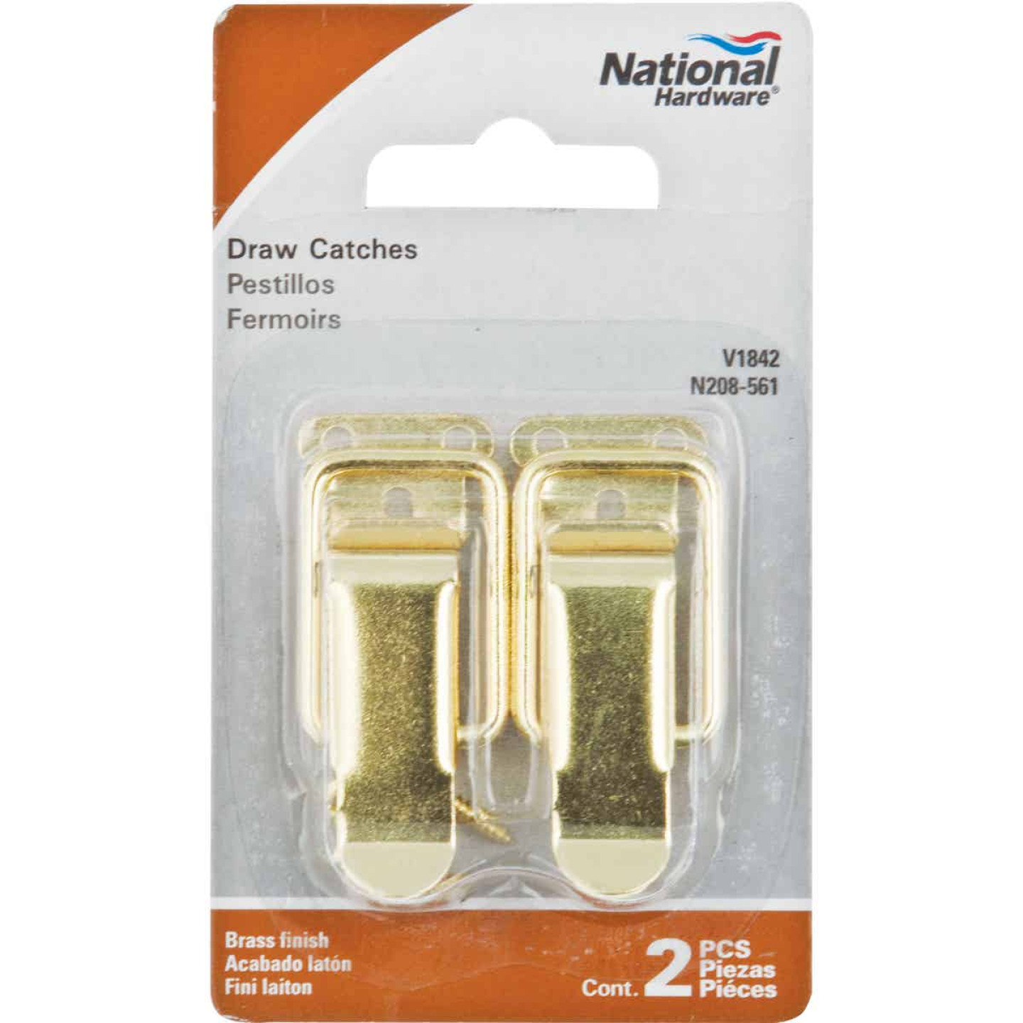 National Catalog V1842 Brass Draw Catch (2-Count) Image 2