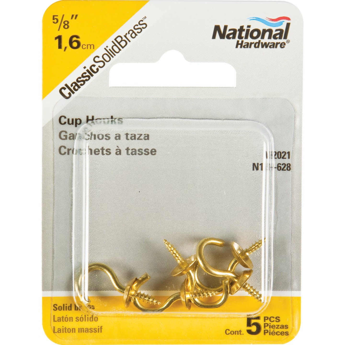 National V2021 5/8 In. Solid Brass Series Cup Hook (5 Count) Image 2