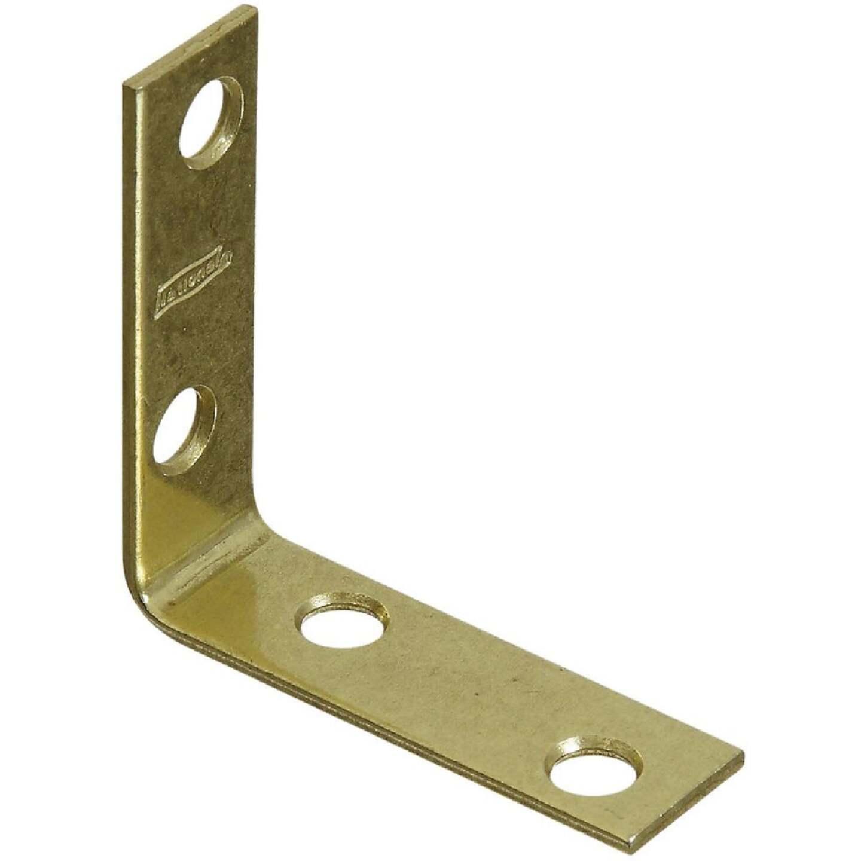National Catalog V115 2 In. x 5/8 In. Brass Steel Corner Brace (4-Count) Image 1
