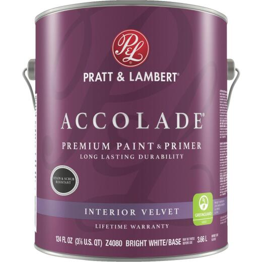 Pratt & Lambert Accolade Premium 100% Acrylic Paint & Primer Velvet Interior Wall Paint, Bright White Base, 1 Gal.