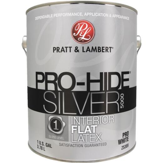 Pratt & Lambert Pro-Hide Silver 5000 Latex Flat Interior Wall Paint, Pro White, 1 Gal.