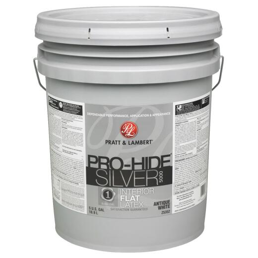 Pratt & Lambert Pro-Hide Silver 5000 Latex Flat Interior Wall Paint, Antique White, 5 Gal.