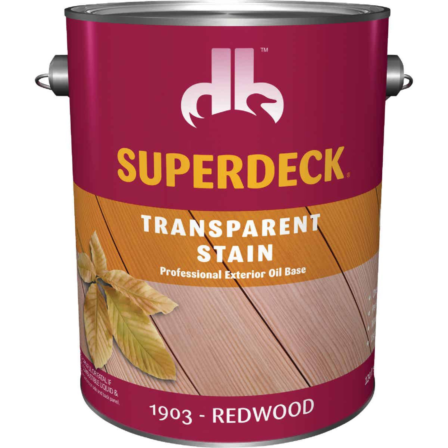 Duckback SUPERDECK Transparent Exterior Stain, Redwood, 1 Gal. Image 1